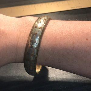Copper and silvertone braided design bangle